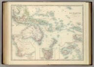Oceania. (with) Western Australia. (with) Tasmania. (with) Viti or Fiji Islands. (with) Eastern Extremity of New Guinea. By Keith Johnston, F.R.S.E. Keith Johnston's General Atlas. Engraved, Printed, and Published by W. & A.K. Johnston, Edinburgh & London.