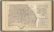 County map of the states of Georgia and Alabama. (with) Savannah, Georgia. (with) City of Atlanta, the capitol of Georgia. Copyright 1886 by Wm. M. Bradley & Bro.