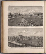 View: Residences and Farms of Thomas Inghram, Augustus Kraber, Adams County, Illinois.