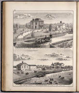 View: Residences and Stock Farms of Robert Chase, Lewis William Nichols, Adams County, Illinois.