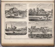 View: Residences of William Hanna, Henry M. Lewis, J.W. Pearce, etc., Adams County, Illinois.