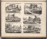 View: Residences of Thomas Bailey, Moses C. Welsh, etc., Adams County, Illinois.
