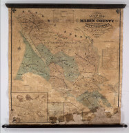 Map Of Marin County, California, Compiled By H. Austin, County Surveyor, from Official Surveys and Records. Drawn By F. Whitney. 1873. (inset) Town Of San Rafael. (inset) Town Of Tomales. (inset) Town Of Nicasio.