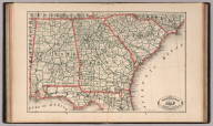 New Rail Road and County Map of Alabama, Georgia, South Carolina and Northern Florida.