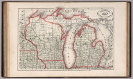 New Rail Road and County Map of Michigan and Wisconsin.