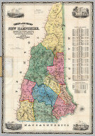 Township and Railroad Map Of New Hampshire