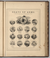 Coats of Arms (of States) Procured Exclusively for Johnson's Family Atlas.