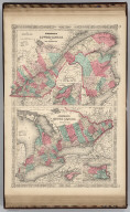 Johnson's Lower Canada And New Brunswick. By Johnson and Ward. (with) inset Vicinity of Montreal (with) Johnson's Upper Canada (with) inset maps of Wolf Island At The Commencement Of The River St. Lawrence and Vicinity Of The Welland Canal & Niagara Falls. By Johnson and Ward.