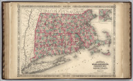 Johnson's Massachusetts, Connecticut, And Rhode Island, Published By Johnson and Ward. (inset) Vicinity of Boston.