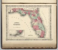 Johnson's Florida By Johnson and Ward. (with) Plan Of The Florida Keys (extension of main map).