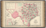 Johnson's New Map of the State of Texas by Johnson and Ward. (inset) Plan Of Galveston Bay From The U.S. Coast Survey. (inset) Plan of Sabine Lake. (inset) Plan of the Northern Part of Texas.