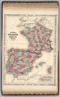Johnson's France, Spain, and Portugal Published By Johnson And Ward. (inset) Corsica. (inset) Gibraltar Rock.