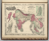 Johnson's Hindostan Or British India By Johnson And Ward. (insets): The Island and Town of Bombay, Madras and its Suburbs, and Calcutta.