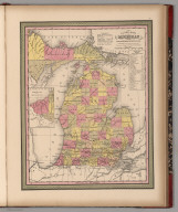 New Map of Michigan with its Canals, Roads & Distances
