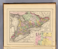 Map of Ontario in counties. (with) Manitoba, Dominion of Canada. Copyright 1887 by Wm. M. Bradley & Bro. (1890)
