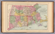 County and township map of the states of Massachusetts, Connecticut and Rhode Island. Drawn and engraved by W.H. Gamble, Philadelphia. Copyright 1887 by Wm. M. Bradley & Bro. (1890)