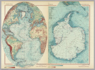 Atlantic Ocean. Antarctica. Pergamon World Atlas. Pergamon Press, Ltd. & P.W.N. Poland 1967. Sluzba Topograficzna W.P.