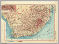 Republic of South Africa. (inset) Witwatersrand. Johannesburg. Pergamon World Atlas. Pergamon Press, Ltd. & P.W.N. Poland 1967. Sluzba Topograficzna W.P.