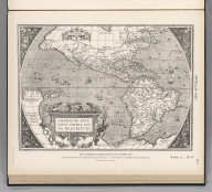 (Facsimile) Ortelius 1587. 20. Map of America by Abraham Ortelius, Antwerp, 1587. Reproduced from Original (in a Collection Labeled American Maps, Vol. I. No. 36.) in Library of U.S. Geological Survey, Washington, D.C. Lith. by A. Hoen & Co., Baltimore, MD.