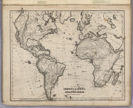 Physical Map Of America & Africa And The Atlantic Ocean
