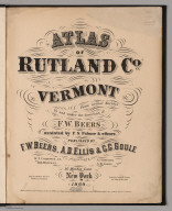 Title Page: Atlas of Rutland County, Vermont.