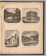 (View) Gooking Falls, Church, Court House & Post Office, Rutland, Vermont. American Slate Pencil Works.