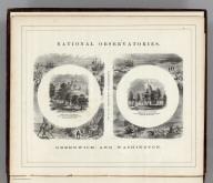 (Frontispiece) National Observatories. Greenwich and Washington.