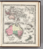Oceanica. Australia, New Zealand. (inset) Sandwich Islands.