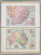 Africa (Southern Part). 7386. (inset) Cape Town. (inset) Johannesburg. (inset) Ladysmith and Vicinity. Australia. (insets of vicinity maps for) Perth, Adelaide, Melbourne, Northfolk Island, Sydney, Brisbane.