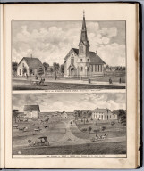 View: Methodist Episcopal Church. Residence of Robert C. Dryden, Louisa County, Iowa.