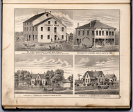View: Businesses of B.H. Druse, M.P. Vanloon. Residence of I. Downs, J.H. Jamison, Louisa County, Iowa.