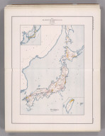 Coal Resources of the World. Japan. Map No. 14. Plate I. Map Showing the Distribution of Coal in Japan. (inset) (Vicinity map of Japan in Asia). (inset) Taiwan.