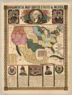Ornamental Map Of The United States & Mexico, 1847