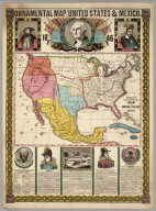 Ornamental Map Of The United States and Mexico, 1846