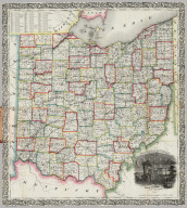 Railroad & Township Map Of Ohio