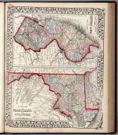 County map of New Jersey. (and) County map of Maryland and Delaware