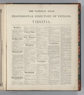 (Text Page) The National Atlas. Professional Directory of Patrons. Virginia.