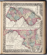 County map of New Jersey. County map of Maryland and Delaware