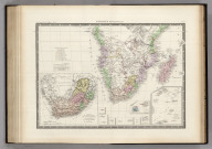 Afrique Meridionale. (inset) Colonies Anglaises du Cap et de Natal avec les Republiques de Fleuve Orange et Transvaal. (insets) various islands and island groups. Atlas Universel en 67 feuilles No. 54.