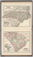 Gray's Atlas Map of North Carolina. (inset) Beaufort Harbor. Gray's Atlas Map of South Carolina. (inset) Plan of Charleston, Vicinity & Harbor (includes plan of Fort Sumter).