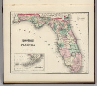 Gray's Atlas Map of Florida. (inset Plan of the Florida Keys is an extension of main map).