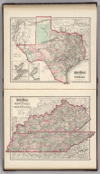 Gray's Atlas Map of Texas. (inset) Plan of Galeston Bay. (inset) Plan of Sabine Lake. Gray;s Atlas Map of Kentucky and Tennessee.