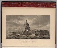(Frontispiece to) Johnson's New Illustrated Family Atlas Of The World, Was Awarded The First Prize Medal At The Universal Exposition Of 1867, In Paris, With A Treatise On Physical Geography, By A. Guyot, LL.D. United States Capitol. Engraved upon Steel by C.E. Loven. Entered according to the Act of Congress, in the year 1866, by A.J. Johnson in the Clerk's Office of the District Court of the United States for the Southern District of New York. From a Photograph of the Drawings by T.U. Walter, Architect, Washington, D.C. (1874)