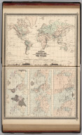 Johnson's Physical Map Showing the Principal Mountains, Plateaus, & Plains of The World by Prof. A. Guyot. Published by A. J. Johnson, New York. 7. 8. (Following maps at scale 1:85,000,000). Johnson's World Showing the Lines of Equal Magnetic Declination, Epoch 1856, By Prof. A. Guyot. Johnson's World Showing the Course of the Tidal Wave in the Three Great Oceans, and the Distribution of Volcanoes. By Prof. A. Guyot. Johnson's World, Showing the Distribution of the Principal Races of Man. By Prof. A. Guyot. Entered according to the Act of Congress, in the year 1870, by A.J. Johnson in the Clerk's Office of the District Court of the United States for the Southern District of New York.