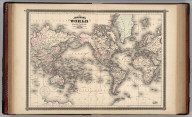 Johnson's World on Mercator's Projection, Published byAlvin J. Johnson & Co., New York. 18. 19. Entered according to the Act of Congress, in the year 1865, by A.J. Johnson in the Clerk's Office of the District Court of the United States for the Southern District of New York.