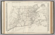 Commercial Atlas of America. Rand McNally Black and White Mileage Map, Connecticut, Massachusetts, and Rhode Island.