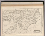 Commercial Atlas of America. Rand McNally Black and White Mileage Map of North Carolina.
