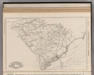 Commercial Atlas of America. Rand McNally Black and White Mileage Map of South Carolina.