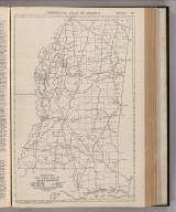 Commercial Atlas of America. Rand McNally Black and White Mileage Map, Mississippi.