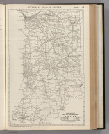 Commercial Atlas of America. Rand McNally Black and White Mileage Map, Indiana.